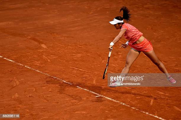 Misaki Doi of Japan serves in her match against Lucie Safarova of Czech Republic on Day Four of The Internazionali BNL d'Italia on May 11 2016 in...