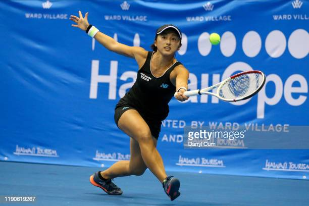 Misaki Doi of Japan tracks the ball during the semifinal match of the Hawaii Tennis Open against Angelique Kerber of Germany at the Stan Sheriff...