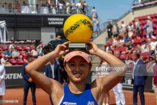Misaki Doi of Japan wins the 2019 Swedish Open WTA for singles and receives the first prize on July 13 2019 in Bastad Sweden Doi won the match 6 4 6...
