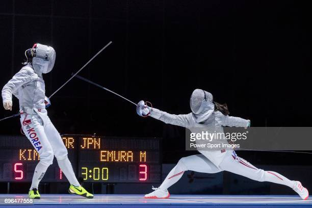 Misaki Emura of Japan fences Kim Jiyeon of South Korea during the Asian Fencing Championships 2017 on June 15 2017 in Hong Kong Hong Kong