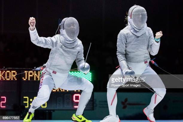 Misaki Emura of Japan gestures while Kim Jiyeon of South Korea fencing during the Asian Fencing Championships 2017 on June 15 2017 in Hong Kong Hong...