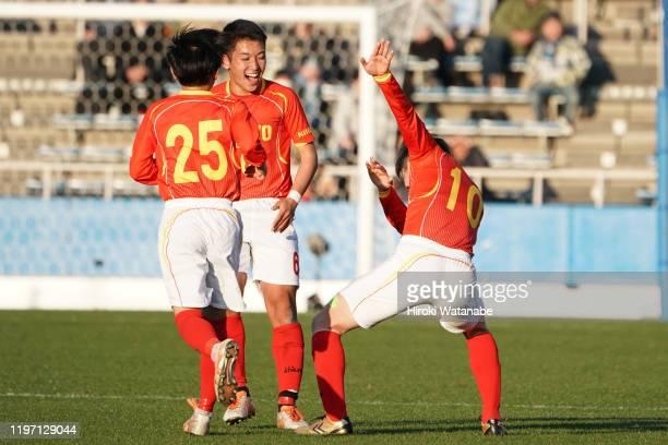 Misaki Haruyama of Teikyo Nagaoka scoring his team's third goal during the 98th All Japan High School Soccer Tournament second round match between...