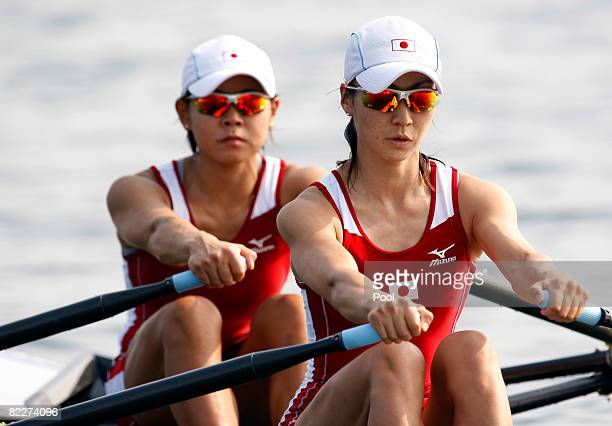 Misaki Kumakura and Akiko Iwamoto of Japan row in the Women's Double Sculls Repechage held at the Shunyi Olympic Rowing-Canoeing Park during Day 4 of...