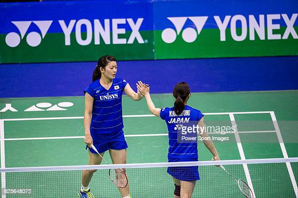 Misaki Matsumoto and Ayaka Takahashi of Japan compete against Anggia Shitta Awanda and Mahadewi Istirani NI Ketut of Indonesia during the...