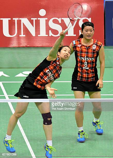 Misaki Matsutomo and Ayaka Takahashi compete in the Women's Doubles final against Koharu Yonemoto and Shiho Tanaka during day five of the 70th All...