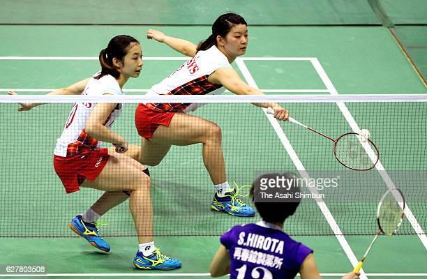 Misaki Matsutomo and Ayaka Takahashi compete in the Women's Doubles semi final against Yuki Fukushima and Sayaka Hirota during day four of the 70th...