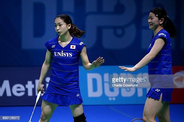 Misaki Matsutomo and Ayaka Takahashi of Japan celebrate winning their women's doubles semi final match against Kamilla Rytter Juhl and Christinna...