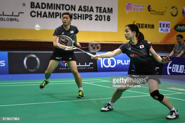 Misaki Matsutomo and Ayaka Takahashi of Japan compete against Ashwini Ponnappa and Reddy N Sikki of India during the EPlus Badminton Asia Team...