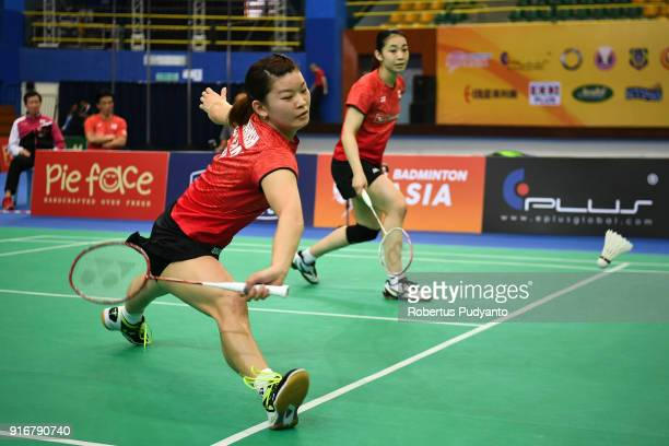 Misaki Matsutomo and Ayaka Takahashi of Japan compete against Du Yue and Lin Yinhui of China during Women's Team Final match between Japan and China...