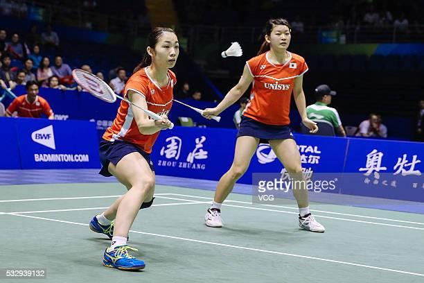 Misaki Matsutomo and Ayaka Takahashi of Japan compete during the women's doubles match against Christinna Pedersen and Kamilla Rytter Juhl of Denmark...