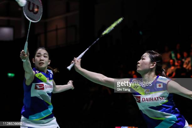 Misaki Matsutomo and Ayaka Takahashi of Japan compete in the Women's Double final match against Du Yue and Li Yinhui of China during day six of the...