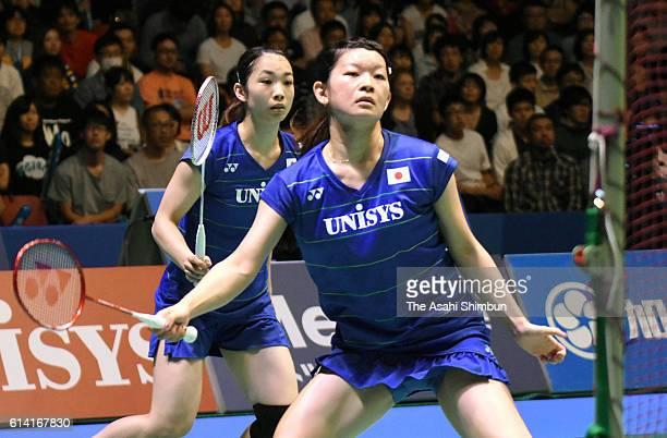 Misaki Matsutomo and Ayaka Takahashi of Japan compete in the Women's Doubles semi final against Shiho Tanaka and Koharu Yonemoto during day five of...