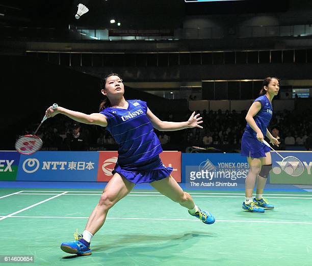 Misaki Matsutomo and Ayaka Takahashi of Japan compete in the Women's Doubles final against Christinna Pedersen and Kamilla Rytter Juhl of Denmark on...