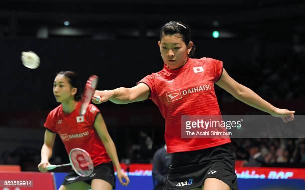 Misaki Matsutomo and Ayaka Takahashi of Japan compete in the Women's Doubles semi final against Yuki Fukushima and Sayaka Hirota of Japan during day...