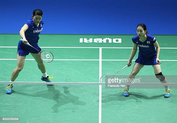 Misaki Matsutomo and Ayaka Takahashi of Japan in action against Chang Ye Na and Lee So Hee of Korea in the Women's Doubles during day three of the...