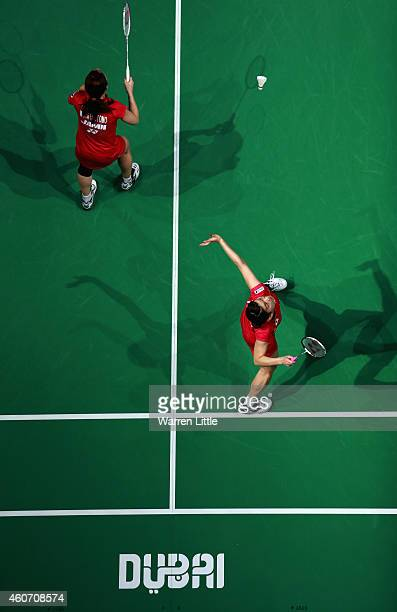 Misaki Matsutomo and Ayaka Takahashi of Japan in action against Luo Ying  and Luo Yu of 840b93e9a