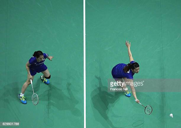 Misaki Matsutomo and Ayaka Takahashi of Japan in action against Luo Ying and Luo Ying of China in the Women's Doubles during day two of the BWF Dubai...