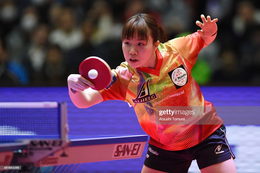 Misaki Morizono of Japan competes in the Women's Singles during day six of All Japan Table Tennis Championships 2015 at Tokyo Metropolitan Gymnasium on January 17, 2015 in Tokyo, Japan.