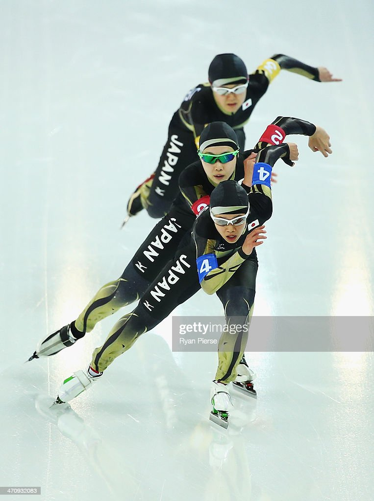Misaki Oshigiri, Maki Tabata and Nana Takagi of Japan compete during the Women's Team Pursuit Quarterfinals Speed Skating event on day fourteen of the Sochi 2014 Winter Olympics at Adler Arena Skating Center on February 21, 2014 in Sochi, Russia.