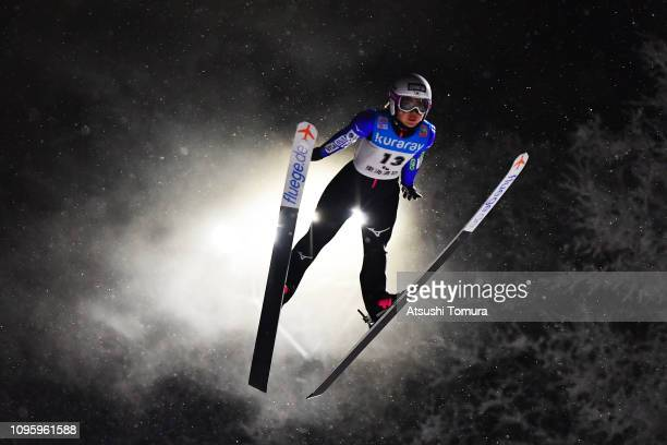 Misaki Shigeno of Japan in action during day one of the FIS Ski Jumping World Cup Ladies Zao at Kuraray Zao Schanze on January 18 2019 in Yamagata...
