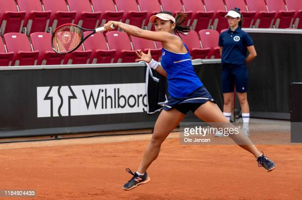 Misako Doi of Japan during her match with Elena Rybakina of Kazakhstan at day three of the 2019 Swedish Open WTA on July 10, 2019 in Bastad, Sweden....