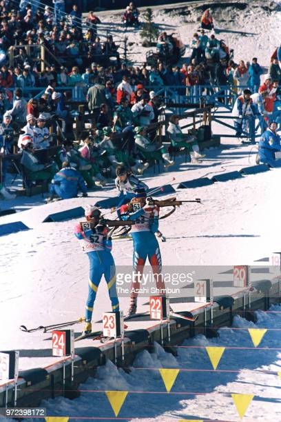Misao Kodate of Japan competes in the Biathlon Individual 20km during the Calgary Winter Olympics at Canmore Nordic Centre on February 20 1988 in...