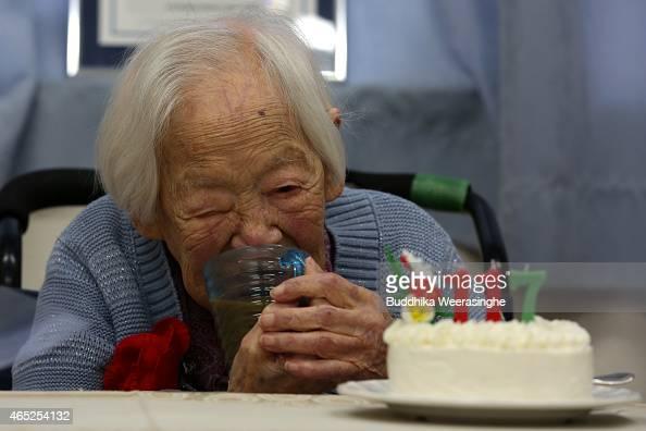Misao Okawa The World S Oldest Japanese Woman Drinks