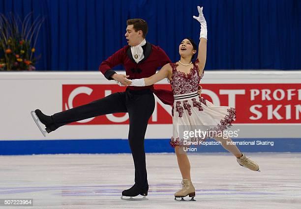 Misato Komatsubara and Andrea Fabbri of Italy perform during their Ice Dance Short Dance during the ISU European Figure Skating Championships 2016 on...