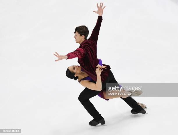 Misato Komatsubara and her partner Tim Koleto of Japan compete in the Ice Dance Rhythm Dance competition during the ISU Four Continents Figure...