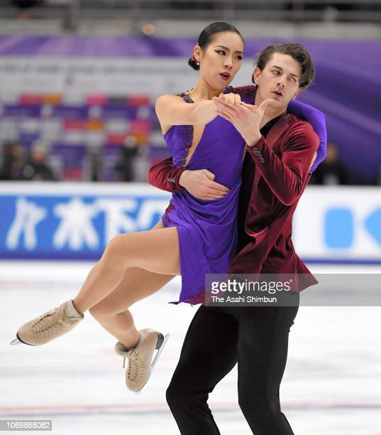 Misato Komatsubara and Tim Koleto of Japan compete in the Ice Dance Rhythm Dance on day one of the ISU Grand Prix of Figure Skating Rostelecom Cup at...
