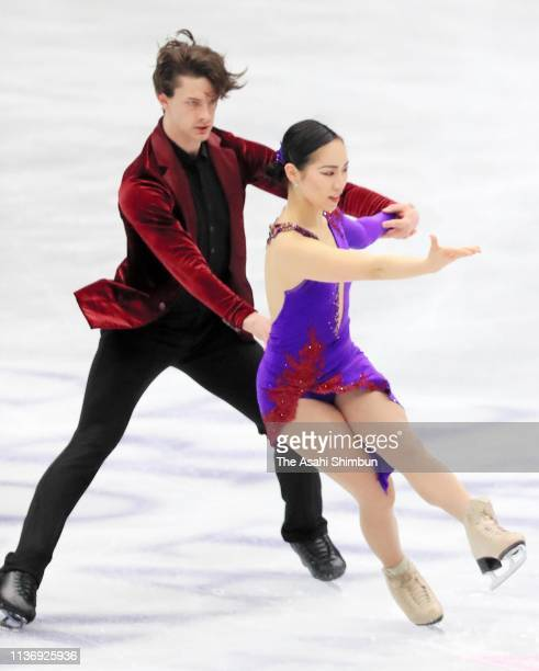 Misato Komatsubara and Tim Koleto of Japan in action during a practice session ahead of the ISU World Figure Skating Championships at Saisama Super...