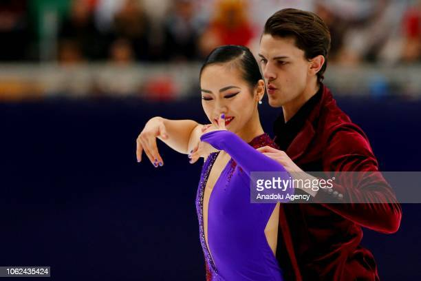 Misato Komatsubara and Tim Koleto of Japan perform during the Ice Dance Rhythm Dance performs during the skating event on the first day of the ISU GP...