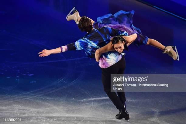 Misato Komatsubara and Tim Koleto of Japan perform in the exhibition gala during day 4 of the ISU Team Trophy at Marine Messe Fukuoka on April 14...