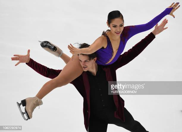 Misato Komatsubara and Tim Koleto of Japan perform their rhythm dance in the ice dance competition at the Rostelecom Cup 2018 ISU Grand Prix of...