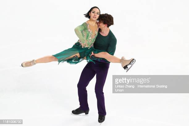 Misato Komatsubara and Tim Koleto of Japan performs in the Ice DanceFree Dance during the ISU Grand Prix of Figure Skating Cup of China at Huaxi...