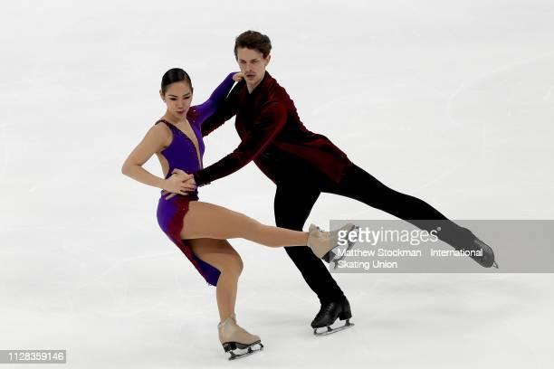 Misato Komatsubara and Tim Koleto of Japan skate in the Ice Dance Rhythm Dance during the ISU Four Continents Figure Skating Championships on...