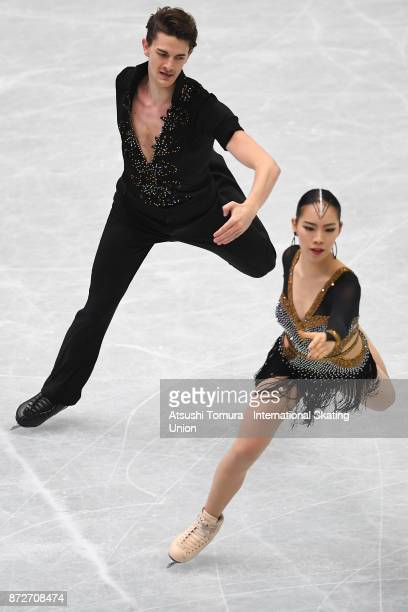 Misato Komatsubara and Timothy Koleto of Japan compete in the Ice dance short dance during the ISU Grand Prix of Figure Skating at on November 11...