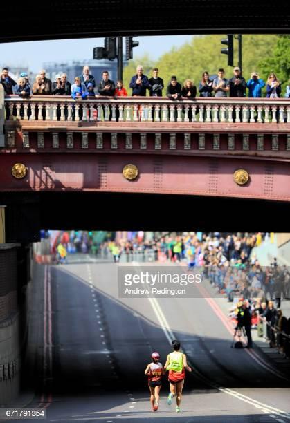 Misato Michishita of Japan in action during the Virgin Money London Marathon on April 23 2017 in London England