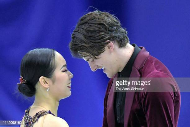 Misato Komatsubara and Tim Koleto of Japan react after competing in the Ice Dance Rhythm Dance on day one of the ISU Team Trophy at Marine Messe...