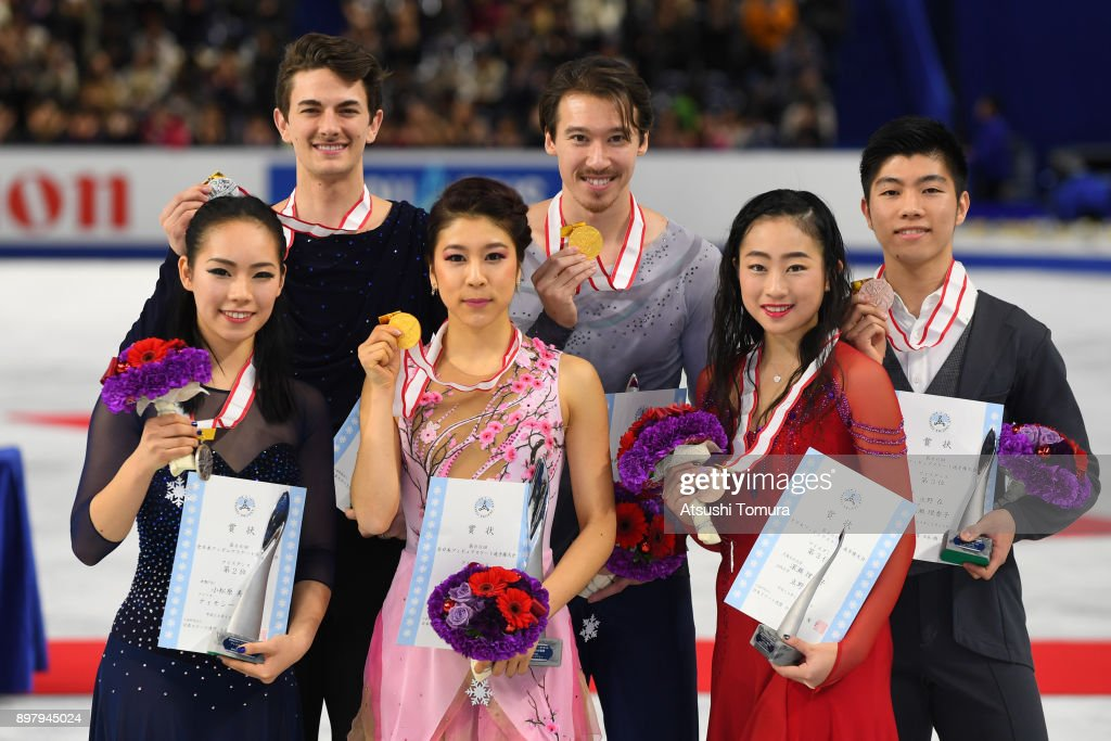 Misayo Komatsubara and Timothy Koleto (silver), Kana Muramoto and Chris Reed (gold), Rikako Fukase and Aru Tateno (bronze) of Japan pose with their medals after competing in the Ice dance free dance during day four of the 86th All Japan Figure Skating Championships at the Musashino Forest Sports Plaza on December 24, 2017 in Chofu, Tokyo, Japan.