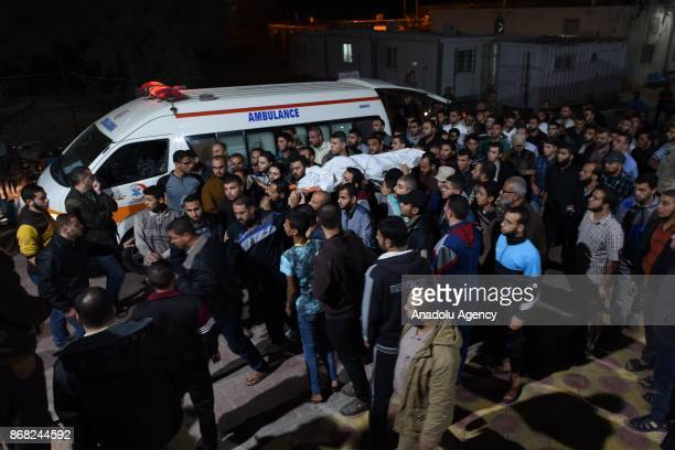 Misbah Shbeer's dead body is being carried to Nasser Hospital in Khan Younis Gaza on October 30 2017 At least six Palestinian fighters were killed...