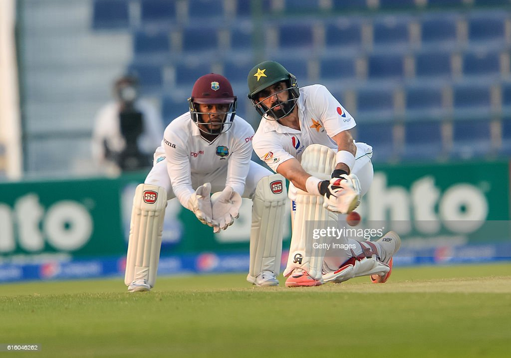 Misbah Ul Haq bats during Day One of the Second Test between Pakistan and the West Indies at the Zayed Cricket Stadium on October 21, 2016 in Abu Dhabi, United Arab Emirates.