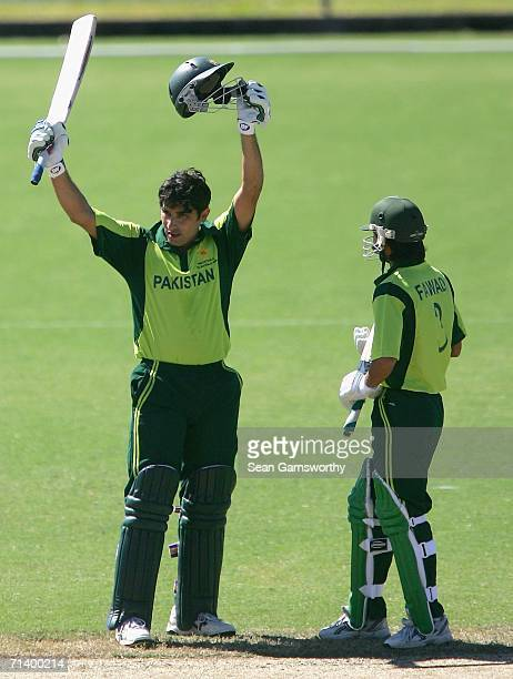 Misbah Ul Haq of Pakistan A celebrates making a century during the Top End Series Twenty20 match between Pakistan A and New Zealand A at Marrara...