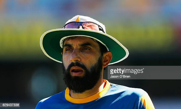 Misbah ULHAQ during a Pakistan nets session at The Gabba on December 13 2016 in Brisbane Australia