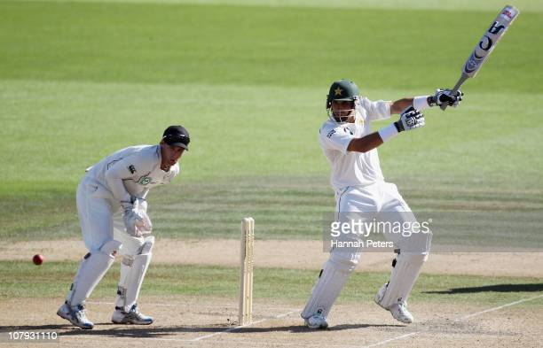 Misbah ulHaq of Pakistan pulls the ball away for four runs during day two of the First Test match between New Zealand and Pakistan at Seddon Park on...