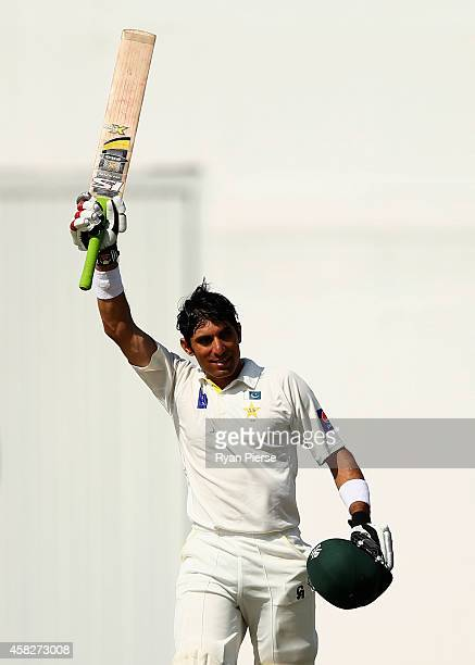 Misbahul Haq of Pakistan celebrates after equalling the fastest test century in history off 56 balls during Day Four of the Second Test between...