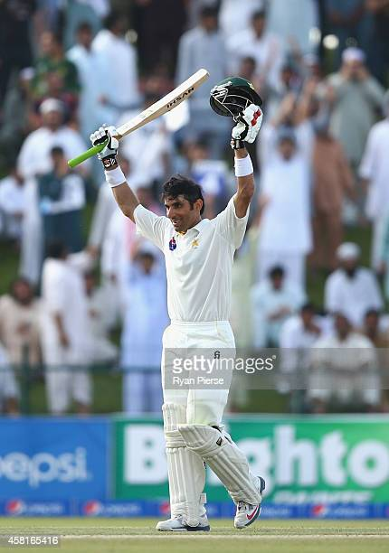 Misbahul Haq of Pakistan celebrates after reaching his century during Day Two of the Second Test between Pakistan and Australia at Sheikh Zayed...