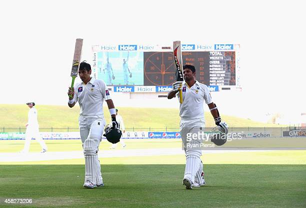 Misbahul Haq of Pakistan who equalled the fastest test century in history off 56 balls and Azhar Ali of Pakistan who scored 100 not out leave the...