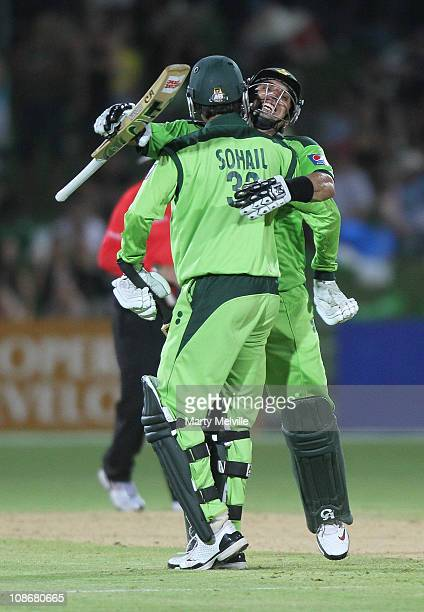 MisbahulHaq and Tanvir Ahmed of Pakistan celebrate winning during game four of the One Day International Series between New Zealand and Pakistan at...