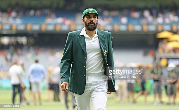 MisbahulHaq captain of Pakistan looks on during day one of the Second Test match between Australia and Pakistan at Melbourne Cricket Ground on...